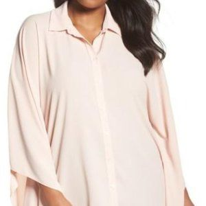 Vince Camuto Button Down Collared Poncho Top